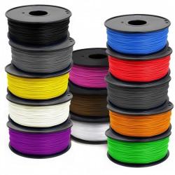 Filament 3D PLA (Noir, Blanc, Argent, Jaune, Rouge, Orange, Bleu)