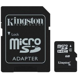 Carte Micro SD avec Adaptateur SD HC Kingston 16 GB Classe 4