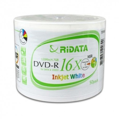 DVD-R Ridata pqt de 50 imprimable