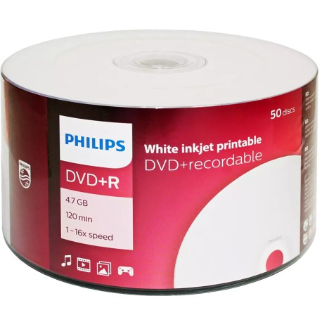 DVD-R Philips 4.7 120 min 16X Printable 50 discs
