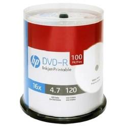 DVD-R HP 4.7GB 16X PRINTABLE 100 Pack